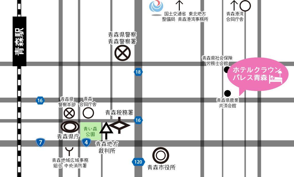 ホテルクラウンパレス青森周辺地図